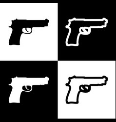 gun sign black and white vector image vector image