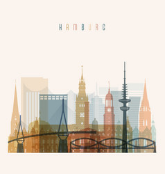 hamburg skyline detailed silhouette vector image
