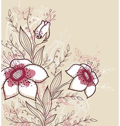 Hand drawn decorative background with red flowers vector image vector image