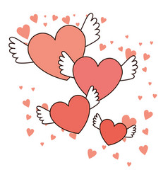 happy valentines day red hearts with wings vector image vector image