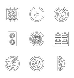 Japan food icons set outline style vector