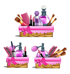 Pink basket - cosmetic brushes lipstick perfume vector