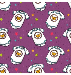 Seamless pattern with cute baby bodysuit vector