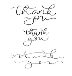 set of hand drawn thank you text on white vector image