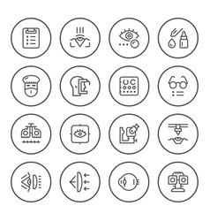 Set round line icons of ophthalmology vector