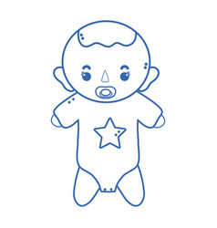 silhouette baby boy with pacifier and hairstyle vector image