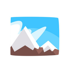 Snowy rocky mountains and blue sky beautiful vector