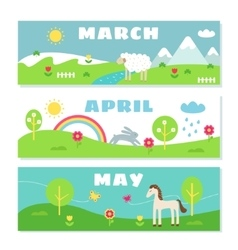 Spring months calendar flashcards set nature vector
