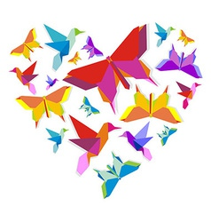 Spring Origami butterfly love vector image