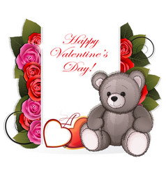 teddy bear with roses vector image