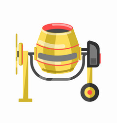 yellow concrete mixer in cartoon style flat design vector image