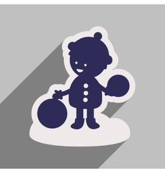 Flat icon with long shadow child playing in snow vector