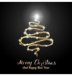 Merry Christmas Black Card vector image