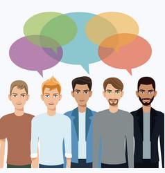 Group men communication dialog bubble speech vector