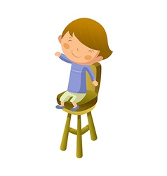 Boy sitting on chair vector