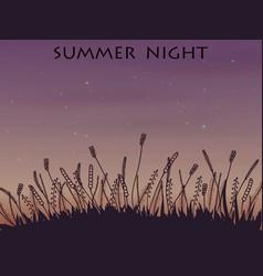 Doodle night landscape under the stars vector