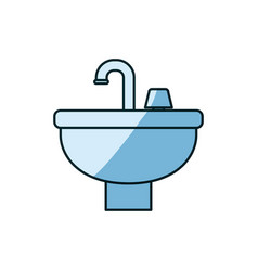 Blue shading silhouette of washbasin icon vector