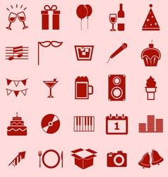 New Year color icons on orange background vector image
