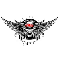 Skull with band and swords vector