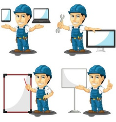 Technician or repairman mascot 16 vector
