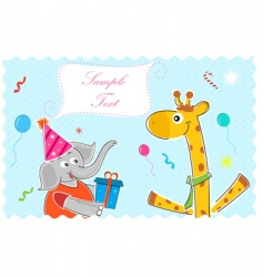 Elephant wishing giraffe happy birthday vector