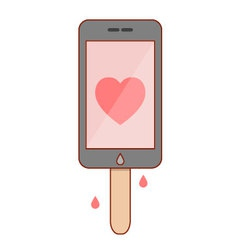 Isolated cartoon smartphone popsicle vector