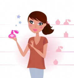 Sexy woman in perfume shop vector