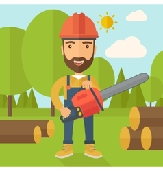 Lumberjack cuts a tree by chainsaw vector