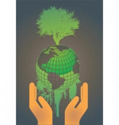 hand holding globe vector image