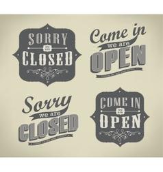 Open Vintage retro sign vector image