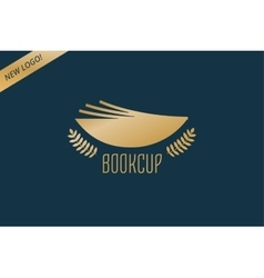Book cup template logo icon back to school vector
