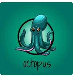 Single octopus on a green background vector