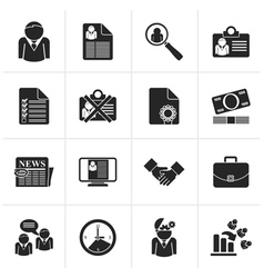 Black employment and jobs icons vector