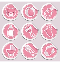 pink baby shower stickers vector image