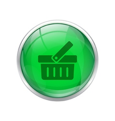 Green shopping cart button vector