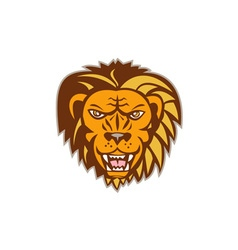 Angry lion big cat growling head retro vector