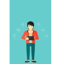 Man holding tablet computer vector image
