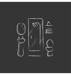 Bathroom drawn in chalk icon vector