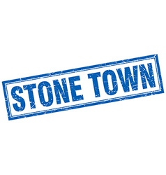 Stone town blue square grunge stamp on white vector