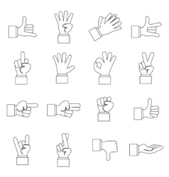 Hand gesture icons set outline ctyle vector