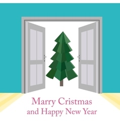 Abstract christmas background with doors vector image vector image