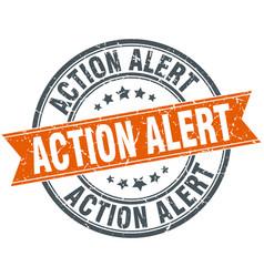 Action alert round grunge ribbon stamp vector
