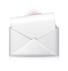 Blank realistic white opened envelope and vector image vector image