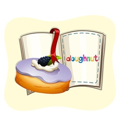 Blueberry flavor doughnut and book vector