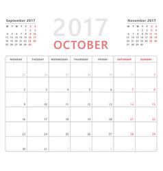 calendar planner 2017 october week starts monday vector image