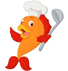 Cartoon chef fish holding soup ladle vector