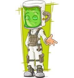 Cartoon scientist in protective mask vector image