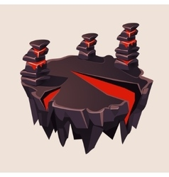 Cartoon Stone Isometric Island with Volcano for vector image vector image