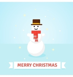Christmas Snowman in red scarf and hat - vector image vector image