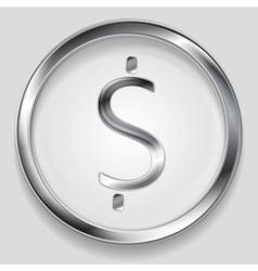 Concept metallic dollar symbol logo vector image vector image